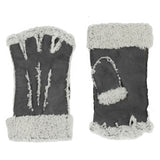 Larzac Sheepskin Leather Mittens Gloves - Grey