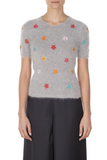 Floral Embroidery Angora Sweater - Grey