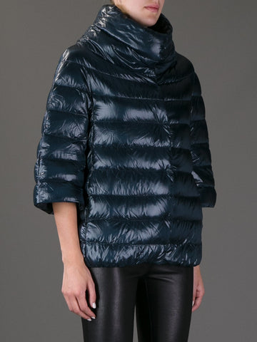 Cropped Sleeve Padded Jacket- Navy