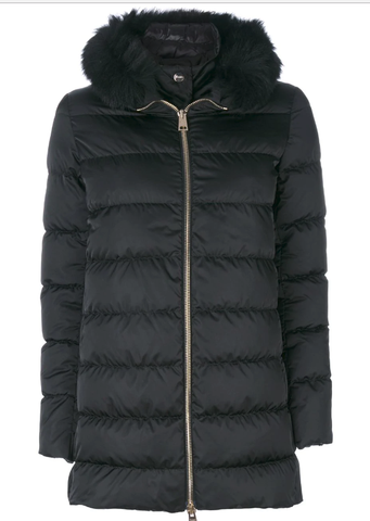 Padded Zip Coat - Black