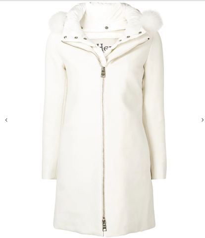 Smart White Coat Fur Collar