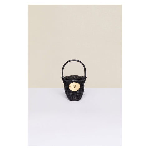 Black Wicker Basket Bag