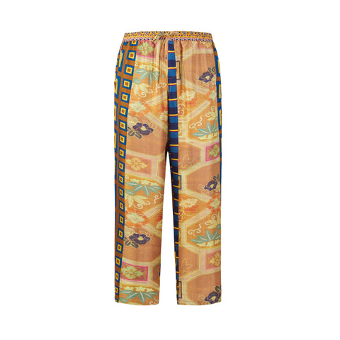 Aloe Patchwork Silk Trousers