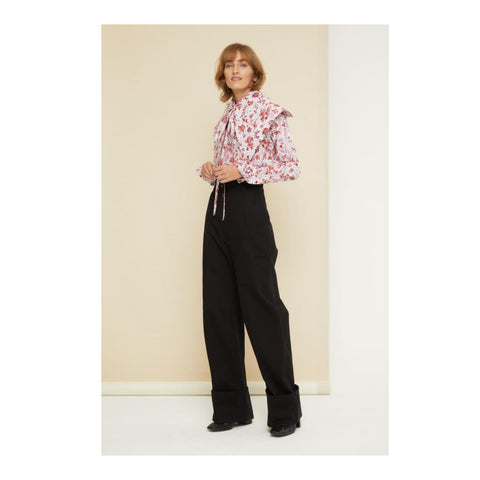 Cuffed Wide Leg Trousers