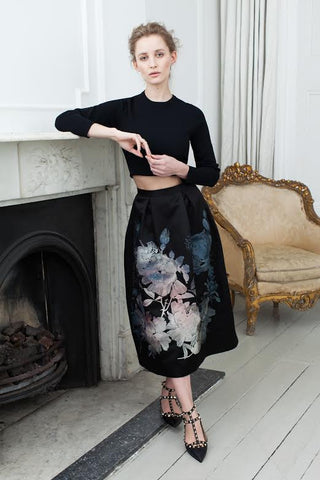 Bonnie Embroidered Midi Skirt - Black