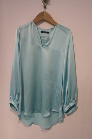 Crepe Satin Charliz Shirt - Peppermint Blue