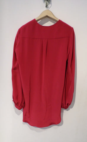 Crepe de Chine Charliz Shirt - Cherry Red