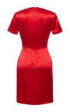 Danielle Silk V-Neck Dress - Red
