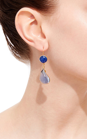 Bicolor Double Teardrop Hook Earrings - Light Amethyst Citrine