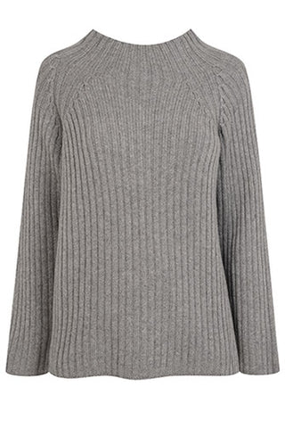 Laura Cashmere 4 ply Funnel Neck Rib Knit - Grey