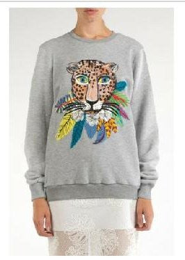 Leopard in Leaves Cotton Sweatshirt