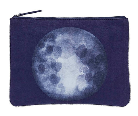 Printed Cotton Canvas Pochette Eclipse Navy