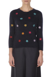 Floral Embroidery Angora Sweater - Navy