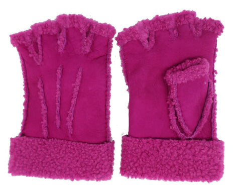 Larzac Sheepskin Leather Mittens Gloves - Fuschia