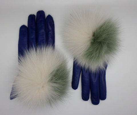 Leather gloves with fur PomPom - Blue