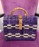 Traditional Straw Bag - Purple Medium