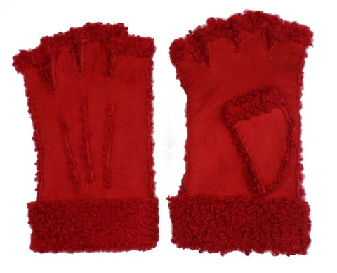 Larzac Sheepskin Leather Mittens Gloves - Red