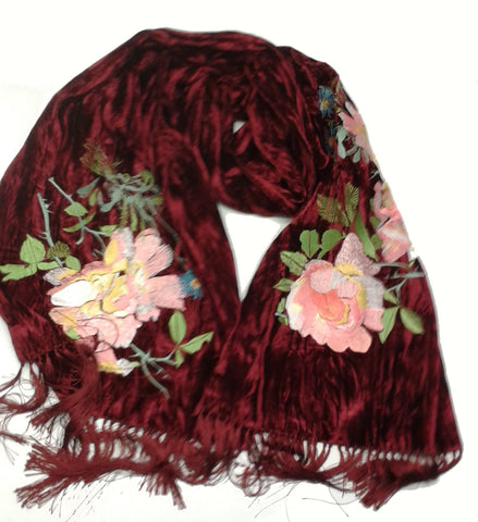 Devon Roses Embroidered Velvet Scarf