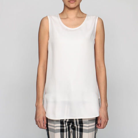 Borneo Silk Tank Top - White