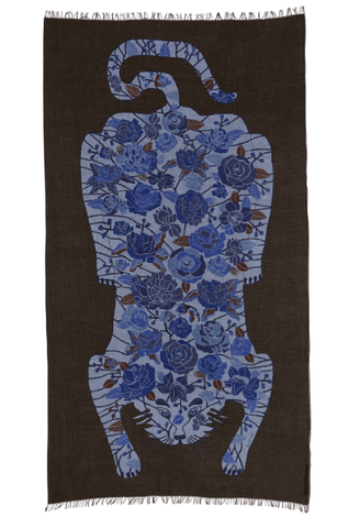 Printed Cotton Scarf Sergio Khaki Blue