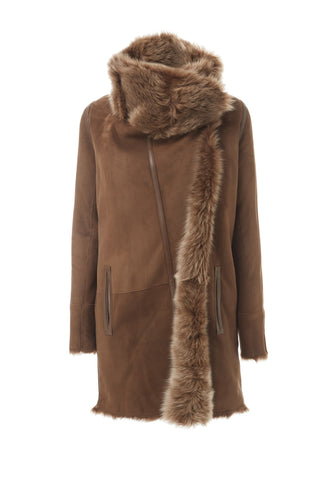 Reversible Shearling Lamb Coat Hazlenut