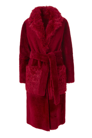 Shearling long coat - Red