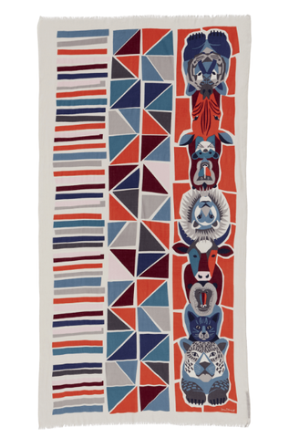Printed Cotton Scarf Totem