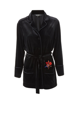 Black Velvet Belted Jacket