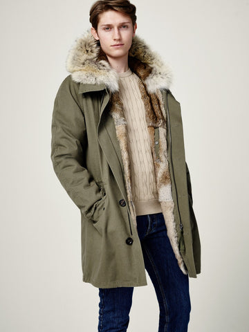 Fur Lined Parka - Army by Yves Salomon Mens