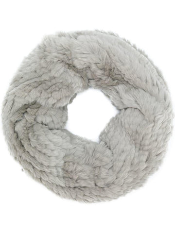 Rex Rabbit Fur Round Snood - Grey