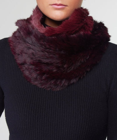 Rex Rabbit Fur Snood - Burgundy