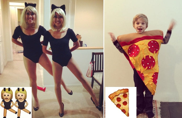 Dancing and Pizza emoji costumes