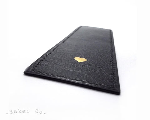 Black Leather Bookmark / Signet Personnalisé Cuir Noir