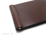 Chocolate Brown Leather Money Clip / Pince à Billets Cuir Chocolat