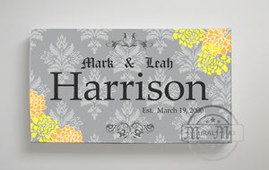 Floral Family Name Personalized Sign