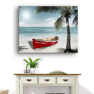 Personalized Beach House Decor - Nautical Boat Wall Art for Couples - Customized with Names - By MuralMax