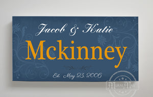 Rustic Couple Sign Custom Family Name & Established Date Stretched Canvas Wall Art by MuralMax