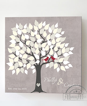 Wedding Guest Book Alternative - 150 Leaf Tree Stretched Canvas Wall Art - Anniversary Gifts, Unique Wall Decor - Taupe