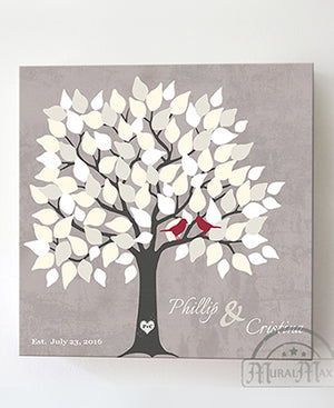 Alternative Wedding Guest Book - 150 Leaf Tree Stretched Canvas Wall Art - Anniversary Gifts, Unique Wall Decor - Taupe by MuralMax