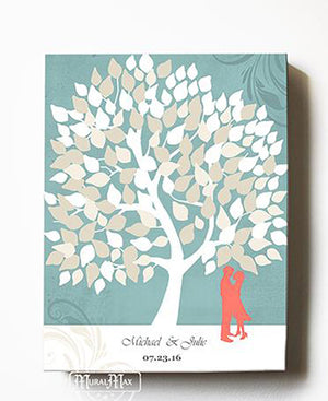 Personalized tree guest book - Personalized Family Tree Wedding Guest Book Canvas Art - Coral And Aqua Wedding - Couples Gift By MuralMax