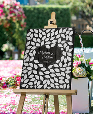 Rustic Wedding Guest Book - Personalized Guest Book Canvas Wall Art - Unique Wall Decor by MuralMax