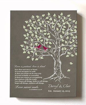Personalized Bible Verse Family Tree & Lovebirds, Stretched Canvas Wall Art, Make Your Wedding & Anniversary Gifts  - by  MuralMax