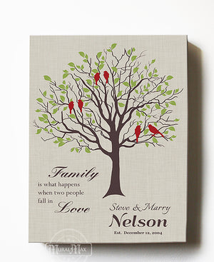 Family Tree Art - Personalized Wedding Gift for Couples Gift for Her Him Newlywed Engagement Anniversary Gift - Family Tree Canvas Art - Light Taupe- by MuralMax
