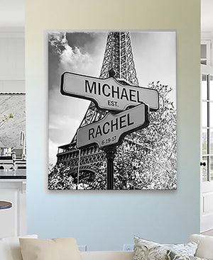Personalized Paris Street Sign - Couples Names Custom Sign - Custom Anniversary Gift Wedding Gift by MuralMax