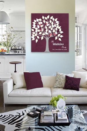 10 Year Anniversary - Personalized Unique Family Tree Canvas Wall Art - Unique Wall Decor - Color - BurgundyHomeMuralMax Interiors