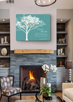 30th Wedding Anniversary Gift for Parents Grandparents - Personalized Family Tree With Birds Canvas Wall Art- Turquoise DecorHomeMuralMax Interiors