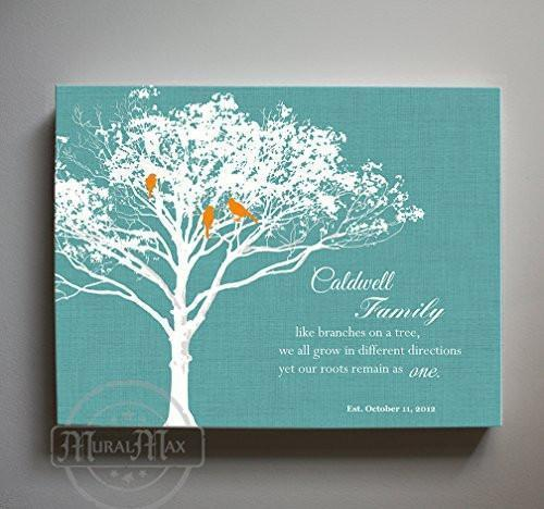 30th Wedding Anniversary Gift for Parents Grandparents - Personalized Family Tree With Birds Canvas Wall Art- Turquoise Decor