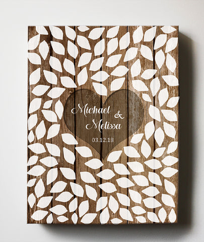 Rustic Wedding Guest Book - Personalized Guest Book Canvas Wall Art - Unique Wall DecorHomeMuralMax Interiors