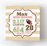 Football Nursery Decor Birth Announcements For Boys - Modern Sports Canvas Birth Stats Nursery ArtBaby ProductMuralMax Interiors
