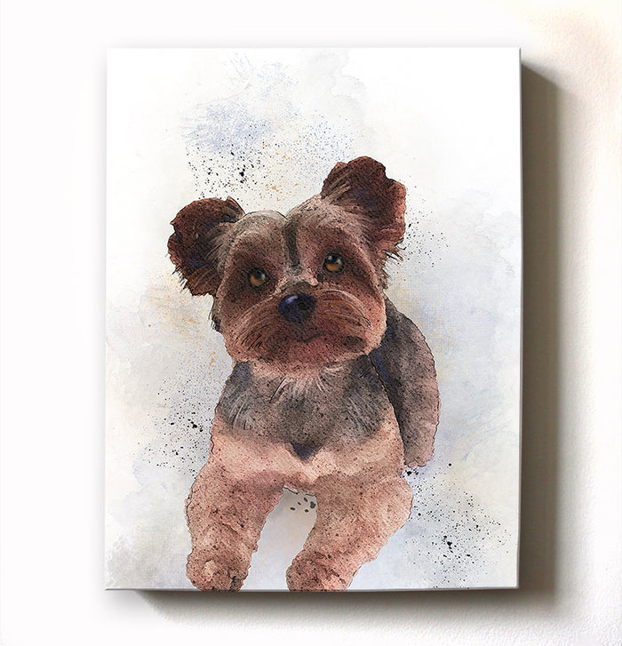 Yorkshire Terrier Canvas Wall Art - Watercolor Painting - Animal Illustration - Home Decor - Nursery Decor Contemporary Pet Art